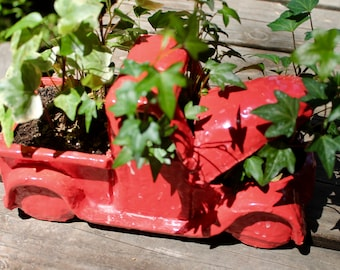 Red Pickup Truck Planter
