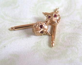 14K Gold Fox Cuff Links