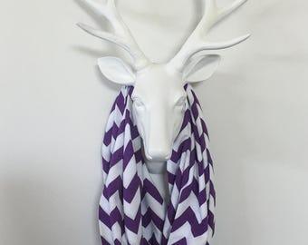 Chevron Infinity Scarf - Grape & White - Cotton Jersey Knit
