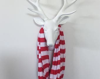 Infinity Scarf - Red & White Stripe - Cotton Jersey Knit
