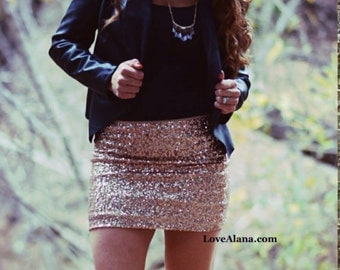 SALE til 11/23 Blush Mini Sequin Skirt - Stretchy, beautiful, fun mini skirt (Small, Medium, Large, XLarge) Made in LA! Ships asap!