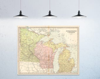 Print of Antique Map of Michigan Wisconsin and Minnesota  on Photo Paper Matte Paper or Stretched Canvas