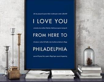 Philadelphia Wall Art Print, I Love You From Here To PHILADELPHIA, Shown in Navy Blue - Dorm Decor Home Wall Decor, Free U.S. Shipping