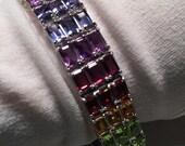 Handmade Garnet Citrine Blue topaz Rhodium Finished Sterling Silver Tennis Bracelet