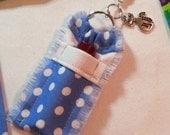 Blue Polka Dot Chapstick Holder Keychain for Women, Lip Balm Holder Key Ring, Lip Balm Case, Lip Balm Keychain Retro Cat Charm