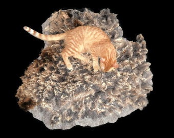 Cruelty Free,  Suffolk Finn Sheep, Cat Bed, Pet Bed, Dog Mat, Ethical Sheepskin, Felted Wool, Fleece Rug, Natural  Cat Bed, Authentic Wool