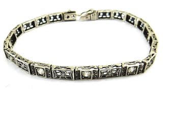 Sterling Silver Filigree Art Deco Bracelet, Open Back Rhinestones 1930s, Tennis Bracelet, Vintage Wedding Bracelet, Bride Jewelry