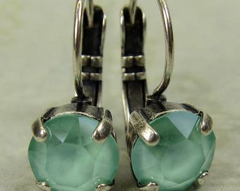 Mint Green Swarovski Crystal Earrings in Antique Silver Setting, New Swarovski Lacquer Color for Spring/Summer 2018, Green Crystal Earrings