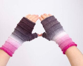 Fingerless gloves  in pink, knitted fingerless,ivory pink grey