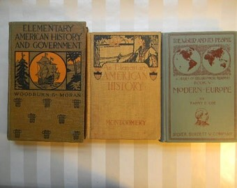 3 Antique School Books, HISTORY School Books, 1892, 1904, 1910