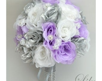 "17 Piece Package Silk Flowers Wedding Bridal Bouquet Party Bride Artificial Bouquets Decoration LAVENDER SILVER ""Lily of Angeles"" SILV01"