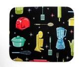 Mouse Pad - Fabric mousepad - Retro Kitchen Utensils - Hot pad