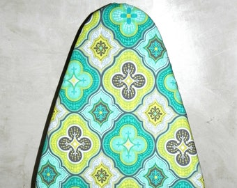Tabletop Ironing Board Cover - Moroccan Tile aqua , yellow, grey and lime green - Laundry and Housewares