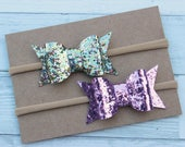 Glitter {PRESLEY} Bows - Nylon Headband - Lavender Glitter - Pastel Easter Glitter