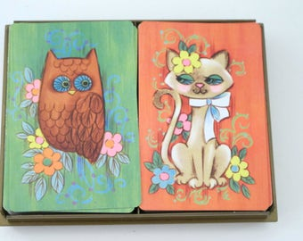 Vintage Mid Century Playing Cards Kent Double Deck Cat and Owl