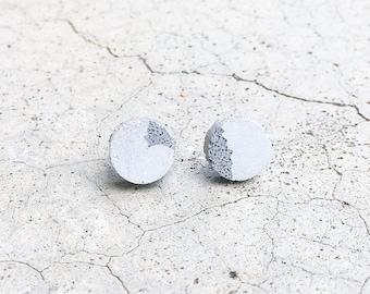 Round Handmade Concrete Stud earrings - Minimalist Jewelry - Industrial - Hypoallergenic