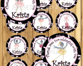 Ballerina Thank you tags or stickers Ballet Thank you favors Ballerina recital Ballet decor dance ballet Personalized stickers tutu PRECUT