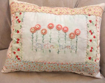 Springtime pillow kit...using cottage florals and designed by Mickey Zimmer