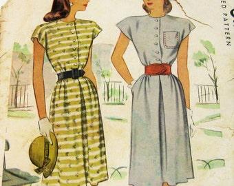 1940s Dress Pattern: 40s Shirtwaist Dress Pattern, McCall 6781