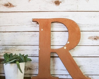 SALE XL Vintage Shop Letter R, Bronze