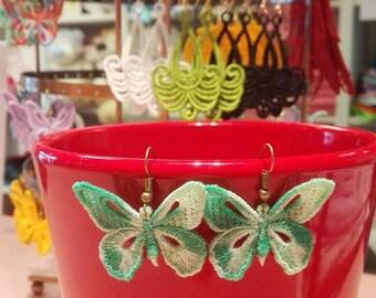 FSL butterfly earrings, lacework earrings, butterfly lace earrings, butterfly earrings, freestanding lace