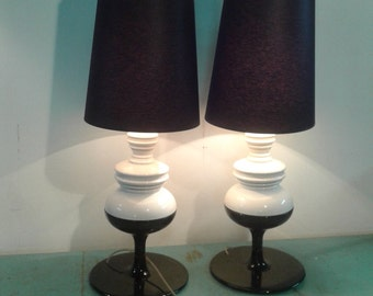 "Pair of Metalarte Lamp  Model ""JOSEPHINE"" made in Spain , black and white  Porcelain table lamp  Design lamps"