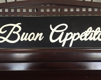 Buon Appetito Good Appetit Italian Farmhouse  Italy Kitchen Dining Room Restaurant Decor Country Sign Plaque Pick from 10+ Colors Wooden HP