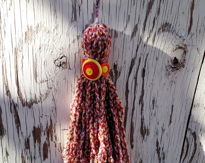 Over Sized Button and Braided Yarn Tassel