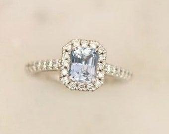 Radiant Cut Blue Sapphire Engagement Ring, Diamond Halo Gemstone Engagement Ring, Wedding Ring Anniversary Ring