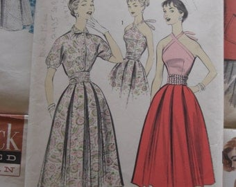 Vintage Sewing Pattern 1950 Halter Top Blouse and Skirt