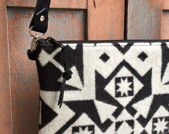 Crossbody Messenger Purse // Black White Pendleton Wool Black Leather // Rosebud Originals