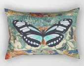 Grunge BUTTERFLY Lumbar Pillow, Rectangular, Romantic, Chic, Vintage Antique French Turquoise Teal Royal Blue Orange Red Black Beige Cream