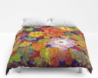 Autumn FLORAL Duvet Cover or Comforter, Red Orange Purple Yellow Green Bedding Modern, Abstract Flower, Bedspread Twin Full Bright, Colorful