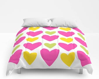 HEARTS Duvet Cover or Comforter, White Yellow Fuchsia Pink Green Modern Teen Bedding, Love, Marriage, Bedspread Twin, Full, Bright, Colorful