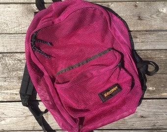 Vintage Eastpak Hot Pink Mesh Backpack Bookbag