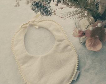 Acorn: Boho Linen Baby Bib, Couture Pom Pom Bib, Vintage Drool Bib