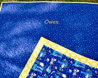 Brand new - baby/toddler quilt - Nursery Rhymes fabric - Great for tummy time - can be monogrammed