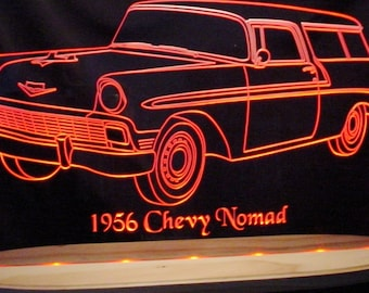 "1956 Nomad Acrylic Lighted Edge Lit LED Sign Awesome 21"" VVD1 Full Size Made in USA"