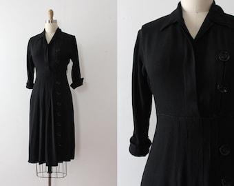 vintage 1940s dress // 40s black rayon button dress