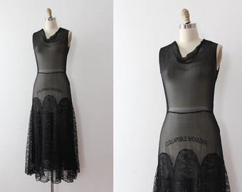 vintage 1930s dress // early 30s black silk and lace sheer dress