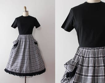 vintage 1950s dress // 50s 60s black and white day dress