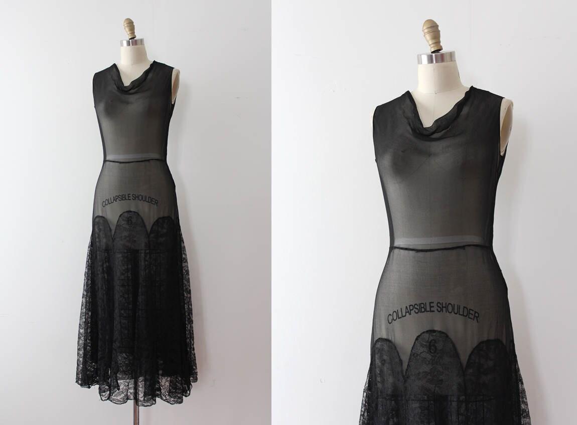 Jahrgang 1930 Kleid / / Anfang der 30er Jahre Schwarze Seide