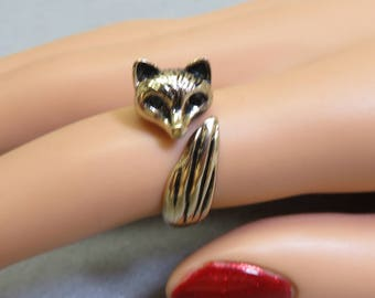 1980s  Wrap Around Fox Head and Tail Ring,  Novelty Fox Ring, Size 6.50