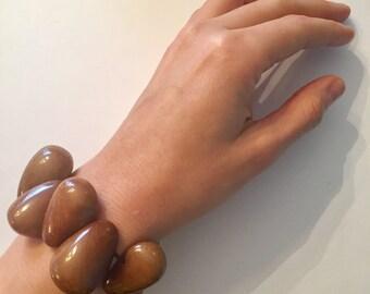 Brown Tagua-Drops Bracelet, Boho Jewelry, Tagua Bracelet, Cuff/Bracelet