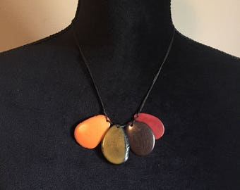 Tagua Slices Pendant Necklace