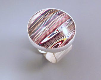 Fordite- Vivid Multi Colored Stipes- One of a Kind- Adjustable Hammered Silver Band- Michigan Made Fordite Ring