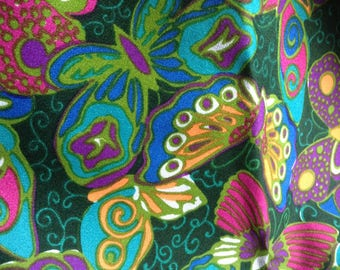 Mod Butterfly print Fabric.   Far Out!  Vintage 1960.  Psychedelic colors. Remnant.  Mid century modern, Danish Modern, Eames era.