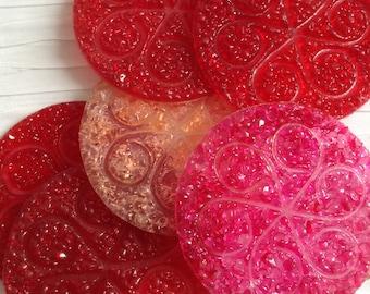6 Plastic Coasters. Mod, pop, Mid century, Eames Panton era.   Vintage 1960.  Red hues.   Flower Power