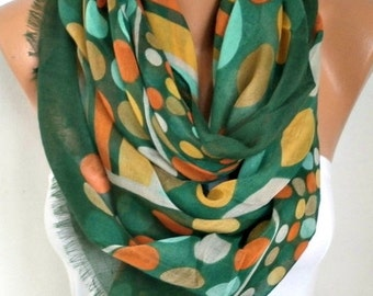 ON SALE --- Green Polka Dot Cotton Scarf, Spring Summer Shawl, Cowl Oversized Wrap Gift Ideas For Her Women Fashion Accessories, Women Scarv