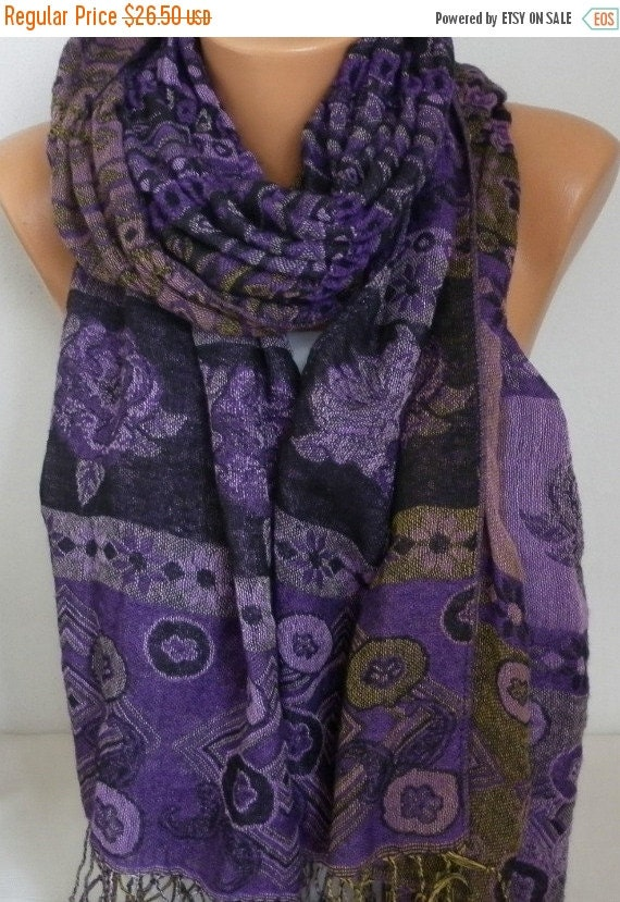 ON SALE --- Purple Knitted Bohemian Shawl,Fall Winter Shirred Scarf,Oversize Cowl Scarf Gift Ideas For Her Women's Fashion Accessories, Chri